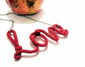Scarlet Love Necklace, Red Love Pendant, Funny Necklace, Valentines Day Gift