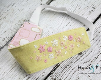 CLEARANCE Yellow Floral embroidered Organic Hairband Headband felt OOAK 12M - teen/adult ready to ship pink peach white