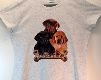 Labrador Retriever Dog Womans T Shirt Puppies with Bone Biscuit 10809