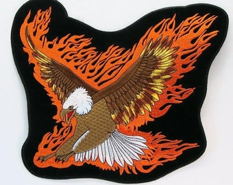 Large Patch Applique Flying Eagle Embroidered 10 X 9 Inches 15286
