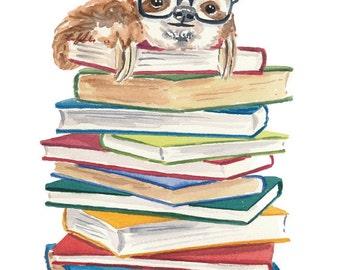 Sloth Watercolour - 8x10 PRINT, Book Lover, Sloth in Glasses, Nursery Art, Watercolor Illustration