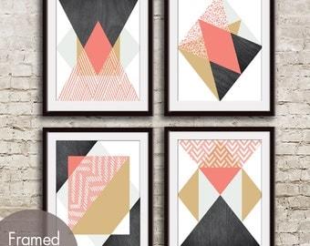 Geometric Pattern Play (Geo-Metro Series C) - Set of 4 - Art Prints (Featured in Coral Rose) Geometric Pattern Art Prints