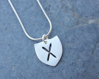 Handmade fine silver rune shield necklace- Elder Futhark - personalized runic symbol or initial - Protection - free shipping usa