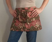 Garden Apron in brown floral for women - Vendor Apron - Half Apron - ready to ship - original design