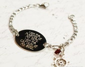 Invictus I am the master of my fate oval bracelet, stainless steel with swarovski crystal or pearl