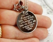 You are braver than you believe --- engraved quote necklace