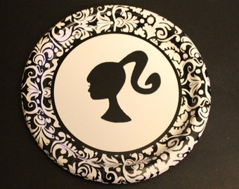 "Black and White Barbie Party Dessert  Paper Plates 9 -inch  ""A la Carte"""