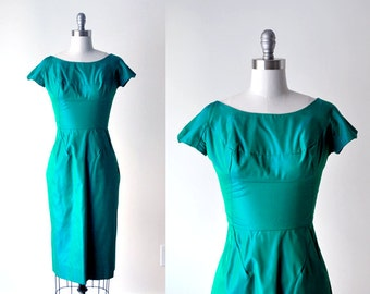 1950's green wiggle dress. 60 emerald green dress. iridescent. taffeta dress. blue green. 1960 small dress.