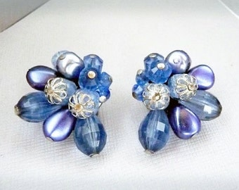 Rich Pearlescent Blue Bead Vintage Earrings - Signed W. Germany