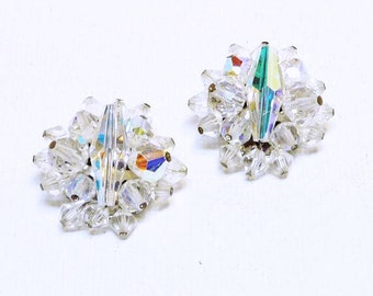 Crystal Rhinestone Clip on Earrings - Brides Wedding Jewellery - Bridal Jewelry