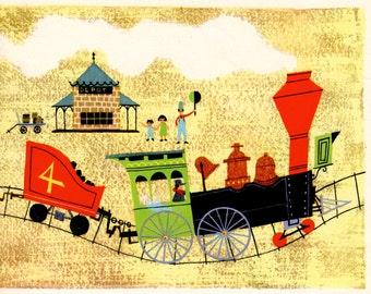 Steam train Nursery print, mid century style illustration for boy bedroom