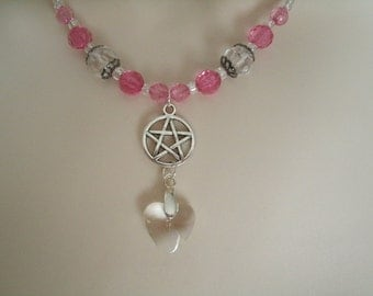 Pentacle Heart Necklace, wiccan jewelry pagan jewelry wicca jewelry goddess witchcraft metaphysical witch magic pentagram wiccan necklace