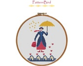 Mary Poppins. Instant Download PDF Cross Stitch Pattern