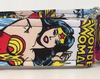 Comic Wonder Woman Adjustable Martingale Dog Collar - Made to Order-
