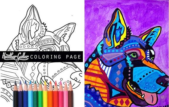 German Shepherd Dog coloring coloring book adult coloring