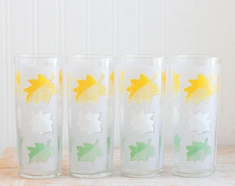 Vintage Ice Tea Drinking Glasses, Frosted Glass with Leaves, Leaf Pattern, Neon Green, Bright Yellow, White, Kitsch Kitchen, Vintage Kitchen