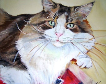 Custom Cat Portrait Pillow - Hand Painted SAMPLES shown are not for sale: Please Order Your Custom Pillow Here - Pet Memorial/ Gift