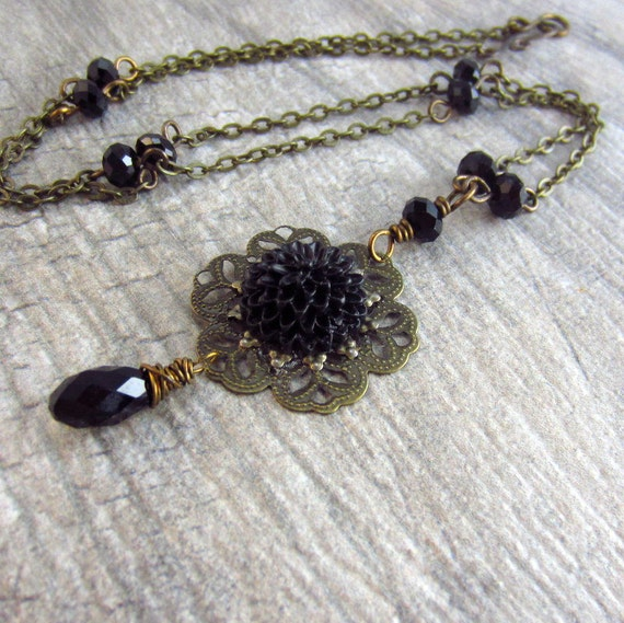 SALE: Black Flower Necklace.  Gothic Necklace Antique Brass Black Crystal Necklace. Gothic Jewelry.Chrysanthemum Necklace