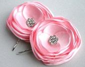 Light Pink Flower Hair Clip, Wedding Flower Accessory, Light Pink flower Hair Pins, Bridal Hair Acessory, Pink Bridesmaid Clip, Flower Girl
