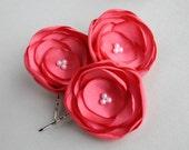 Coral Flower Hair Accessories, Peach Flower Hair Clips, Coral Wedding Accessory, Flower Hair Pieces, Bridesmaid Flower Clip