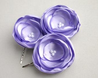 Light Purple Flower Hair Clips, Wedding Hair Pieces, Lavender Flower Girl Hair Pieces, Bridesmaid Hair Pins, Floral Hairpieces, Head Pieces