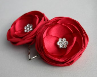 Red Flowers For Hair, Ruby Red Flower Hair Clips, Bridal Flower Hair Pins, Red Wedding Accessories, Bridesmaid Hair Piece, Flower Girl Clip