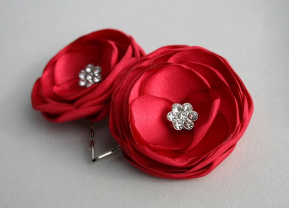 Red Flower Hairpins, Red Bridesmaid Hairpieces, Ruby Red Floral Hair Pins, Red Flower Girl Hair Pieces, Bridal Accessory, Wedding Headpieces