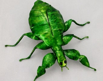 Leaf Insect Handmade Copper Metal Wall Sculpture