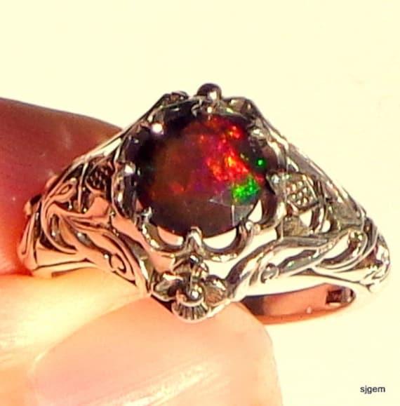 opale welo noire bague en argent anneau thiopien opale. Black Bedroom Furniture Sets. Home Design Ideas