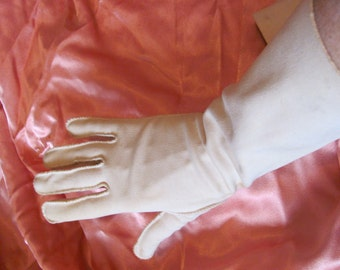 "Vintage Soft Beige Nylon Ladies Gloves 13"" Inch Long"