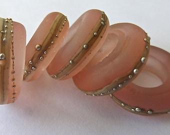5 Large Hole Slider Rings Handmade by SRA  Sarah Klopping in Transparent Matte Light Rose, Ivory Stinger and Fine Silver