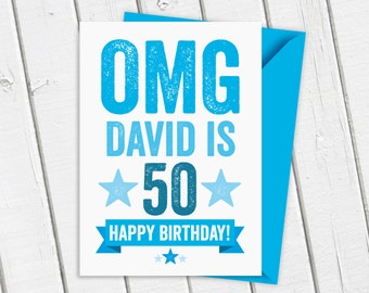 OMG 50th Birthday Card Personalised in Blue