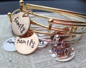 CUSTOMIZABLE Hand stamped women's gold bronze or silver bangle bracelet Alex Ani Style family coordinating matching cancer sisters friends