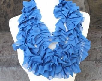 Cute  ruffled  chiffon  trim  royal  blue   color  2 yards listing
