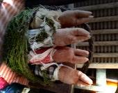 Primitive  Spring Time Rabbit Stump Doll Ornies