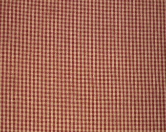 On Sale Red And Cream Mini Checked Homespun Fabric For Your Crafting Needs 1/2 yard