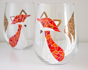 Multi-Colored Red and Orange Fall Fox Mosaic Hand Painted Wine Glasses - Set of 2 (Stemless or with Stems)