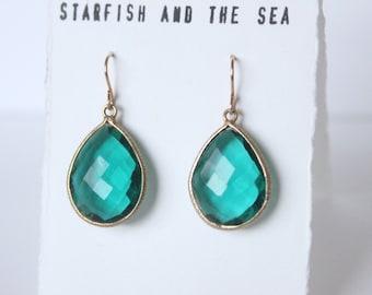 Small Gold Vermeil Rainforest Green Quartz Earrings