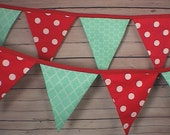 Fabric Bunting -Pennant-Flag-Banner  Vintage Look Red mint 19 Flags 13 foot Birthday Party decor Photo Prop