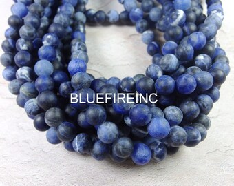 38 PCS Round Natural Color Matte Finished Blue Sodalite Beads in full strand