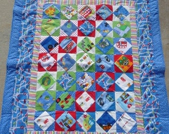 Baby Quilt - Cars and Streets Quilt - Nursery Quilt - Hand Made Flannel Quilt - Baby Shower Gift  * birthday gifts for her