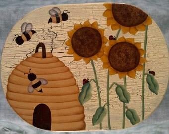 Wooden Sunflower Stool