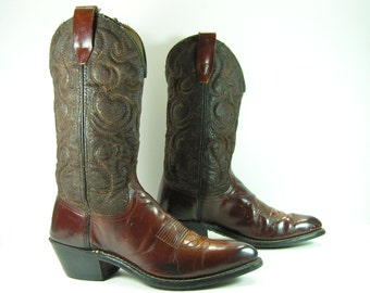 vintage cowboy boots women's 8.5 M B brown wrangler leather cowgirl 1970's distressed