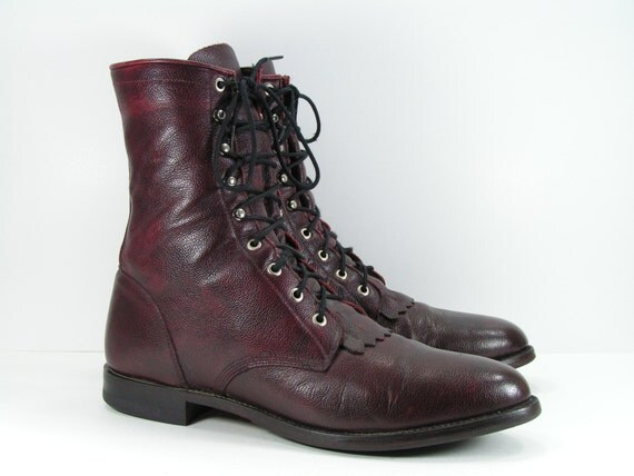 Justin mens 12 d lacer cowboy boots burgundy western ropers paddock