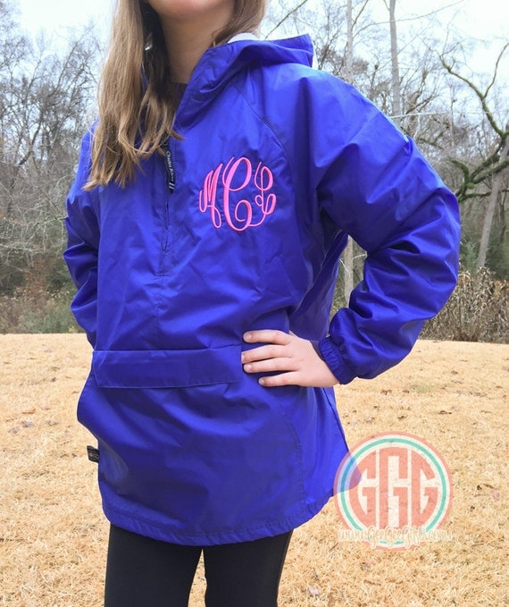 YOUTH Monogrammed Personalized Royal Blue Quarter Zip Rain