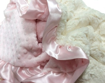 Stroller Size Baby blanket - Baby Pink Dot With Crushed Cream Minky Blanket with Satin Ruffle Trim Embroidery Included