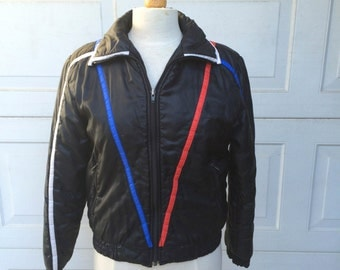 70s Vintage Lightweight Nylon Black Ski Jacket   Snowboarding   Small Medium Men Women