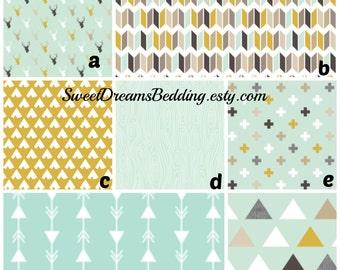 Custom Crib Bedding You Design   Bumper and Bedskirt Deer Mint Grey