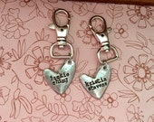 Sale- new modern pewter heart bag tags