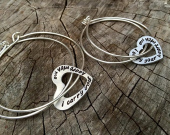 Sale--Matching Mom and Daughter Bangle Set-Hand Stamped